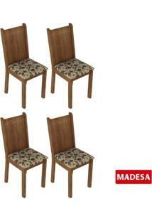 Kit 4 Cadeiras 4290 Madesa Rustic/Bege Marrom