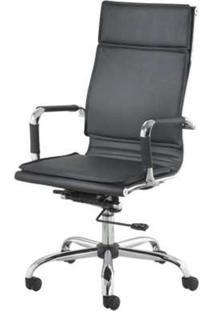 Cadeira Diretor Valencia Alta Preta Base Cromada 5326 - Sun House