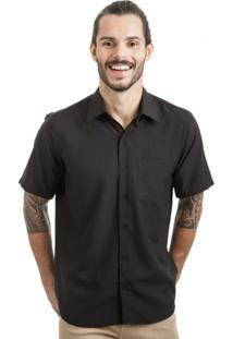 Camisa Di Sotti Manga Curta Preta - Masculino