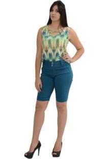 Bermuda Energia Fashion Bengaline Azul