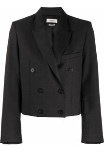 Isabel Marant Étoile Cropped Double-Breasted Blazer - Cinza