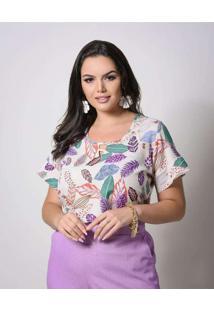 Blusa Almaria Plus Size New Umbi Estampada Bege