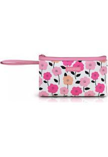 Necessaire Com Alça Tam. P Estampa Flores Jacki Design Pink Lover Rosa - Kanui