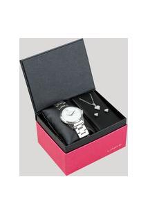 Kit De Relógio Analógico Lince Feminino + Colar + Brinco - Lrm4560L Kv36B2Sx Prateado