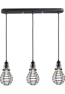 Luminária Pendente Aramado Lamp Trio Linear Preto Ref: Lt-166-L