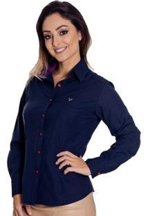 Camisa Pimenta Rosada Andreza - Feminino-Azul Escuro