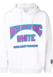 White Mountaineering Logo Print Drawstring Hoodie - Cinza