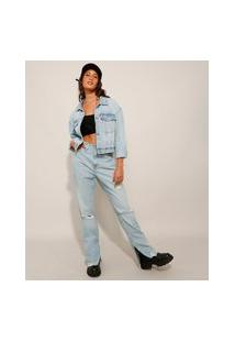 Calça Wide Reta Jeans Slim Cintura Super Alta Destroyed Com Fendas Azul Claro