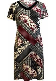 Vestido Pau A Pique Estampado Feminino - Feminino-Vermelho Escuro
