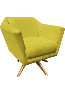 Poltrona Decorativa D'Rossi Lorena Suede Amarelo Com Base Giratória De Madeira