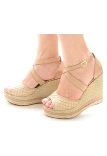 Sandália Anabela Sb Shoes Ref.3207 Bege/Juta