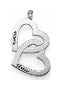 Pingente Coração Gravação Nomes Florenzza Prata 950 Feminino - Feminino-Prata