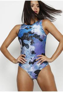 Body Com Decote Canoa- Azul Claro & Preto- Patrapatra