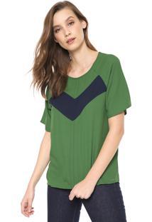 Blusa Colcci Recortes Verde/Azul