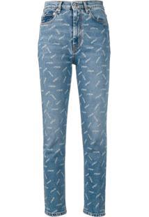 Heron Preston Calça Jeans Cropped Estampada - Azul