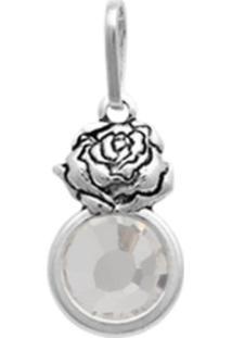Pingente Prata Mil Prata Envelhecida Rosa Com Pedra Chaton Cristal - Tricae