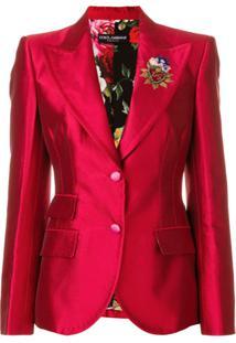 Dolce & Gabbana Blazer 'Giacca' Com Aplicação - Vermelho