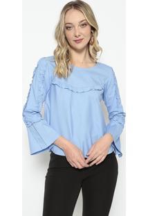 Blusa Com Recortes- Azul- Kesseykessey