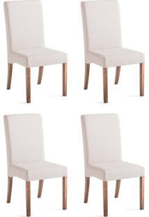Conjunto Com 4 Cadeiras De Jantar Valentina Branco E Imbuia