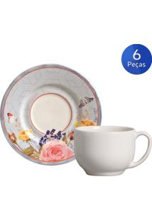 Conjunto 6 Xícaras De Chá Com Pires Retrô Rose - Porto Brasil Multicolorido