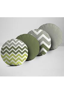 Kit 4 Almofadas Redondas Abstrato Verde