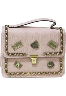 Bolsa Pequena Com Patches Preta Rosa