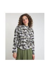 Jaqueta Feminina Estampada Camuflada Em Linho Com Cordão E Bolsos Verde Militar