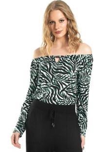 Blusa Feminina Ciganinha Estampada Verde