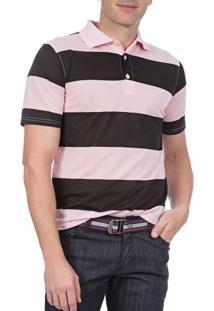 Camisa Polo Masculina Rosa Listrada - P