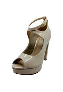 Sandalia Ankle Boot Salto Tamanhos Especiais Dani K Bege