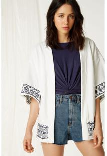 Kimono Moletom Bordado Off White - P