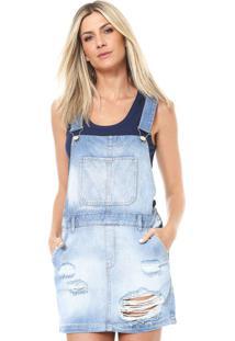 Vestido Salopete Jeans Dzarm Curto Destroyed Azul