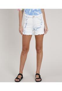 Short Jeans Feminino Blueman Cintura Super Alta Estampado Tie Dye Azul Claro