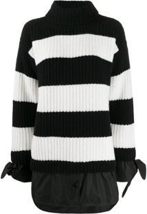Moncler Suéter Com Listras E Sobreposição - Preto
