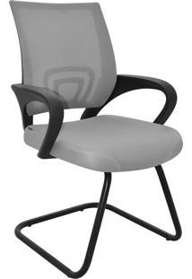 Cadeira Office Santiago Cinza Base Fixa Rivatti Móveis
