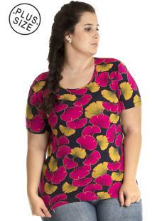 Blusa Konciny Viscolycra Plus Size Colorida Rosa