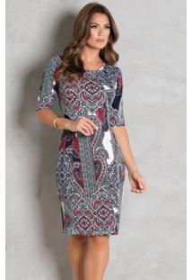 Vestido Arabescos Tubinho Moda Evangélica