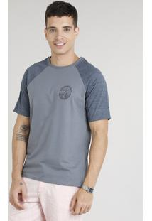 Camiseta Masculina Raglan Com Estampa De Prancha De Surf Manga Curta Gola Careca Chumbo