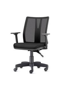 Cadeira Addit Assento Crepe Preto Base Metalica Com Capa - 54183 Preto