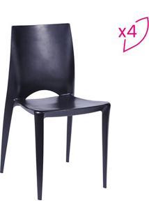 Jogo De Cadeiras Zoe- Preto- 4Pã§S- Or Designor Design