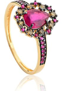 Anel De Ouro 18K Gota E Aro De Rubi Com Diamantes Brown Rodinados