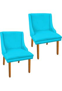Kit 02 Cadeira Sala De Jantar Liz Suede Azul - D'Rossi