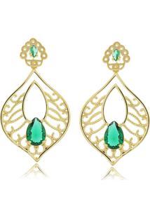 Brinco Folha Com Cristal Em Gota Verde Esmeralda 3Rs Semijoias Dourado