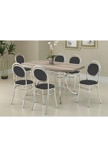 Mesa 1507 Nogueira Cromada Com 6 Cadeiras 190 Preta Carraro