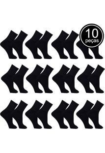 Kit Com 12 Pares De Meias De Algodão Do 39 Ao 43 Esportivas Preto