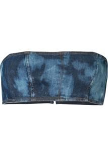 Manning Cartell Blusa Cropped Tie-Dye - Azul