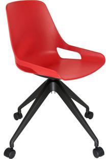 Cadeira De Cozinha Giratória Beau Vermelha E Preta