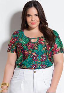 Blusa Floral E Cashmere Plus Size Marguerite