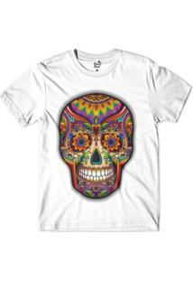 Camiseta Long Beach Caveira Psicodelica Sublimada Masculina - Masculino-Branco