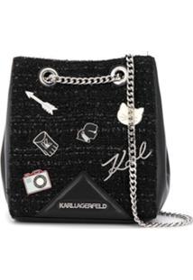 Karl Lagerfeld Bolsa Bucket K/Klassik Com Pins - Preto